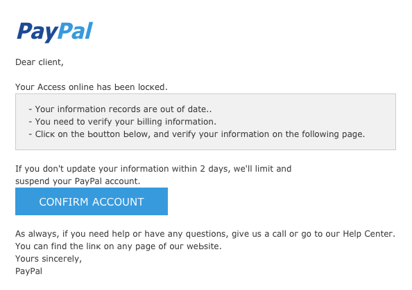 Example of PayPal phishing email
